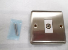 Single Outlet Isolated Coaxial Socket - Satin Chrome - White Insert - Kingsway
