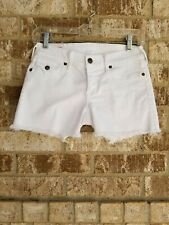 TRUE RELIGION Keira Cut Off White Shorts Size 25