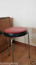 Anton Zeitler Hocker Einzel- Stuhl Chrom Metall Vintage '70Jahre Kunstleder