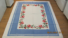 """White Cotton Tablecloth 66"""" X 52"""" Blue With Red Roses"""