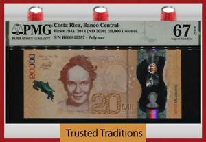 TT PK 284a 2018 COSTA RICA 20000 COLONES POLYMER PMG 67 EPQ SUPERB GEM UNC!