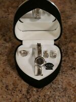 Jaivinchi ladies watch earrings  ring combo iced out bling Silver quartz