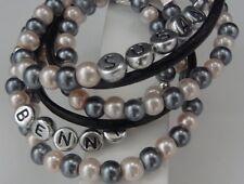 Designen Sie selbst: Wickelarmband Leder + Perlen versilbert Namensschmuck