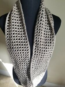 Infinity Scarf Taupe Soft And Cozy, Hand-crocheted Gifts
