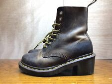 DR MARTENS Clemency Boots Heel Size 5 Chunky Lace Up Distressed 36 EUR