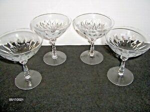Vintage Set of 4 Etched Crystal Champagne/Wine/Martini Glasses