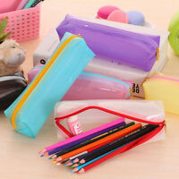 1x Student Plastic Pen Bag Pencil Case Travel Makeup Cosmetic Bag Stationery