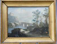 Antikes Ölgemälde Landschaft Tivoli Italien Brücke Fluss Barock Hund Latium