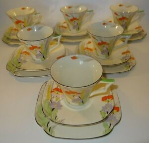 6 Vintage Tams Ware Pattern 2037 Poppy Art Deco Trios Cup Saucer Plate c1930 VGC