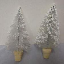 """Christmas Trees, White Plastic, Mica, Wood Base, Metal Wire, 3"""" Across 7"""" Tall"""