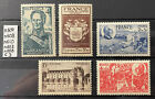 Lot 065: 5 Timbres France n°607 608 610 662 668 neufs** année 1944