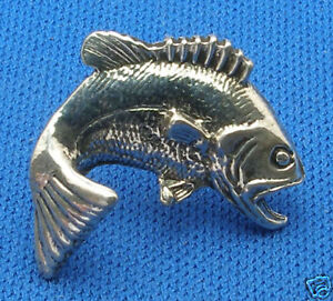 Large Mouth Bass Tie, Hat Tack, Sterling Silver Fishing, Fish, Sportsman tac