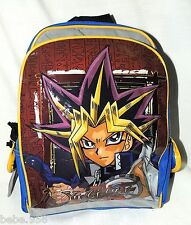 "YU-GI-OH ! SMALL  CANVAS & VYNIL  BACKPACK  BLUE & RED   12"" X 10"" ACCESORY NET."