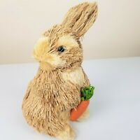 Easter Bunny Rabbit Figure Straw Sisal Spring Decor Natural Rustic 7 inch