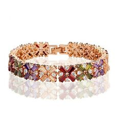 Fashion Rose Gold Plated Multi Coloured Cubic Zircon Mona Lisa Bracelet Bangle