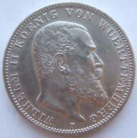 TOP! 3 MARK WÜRTTEMBERG WILHELM II 1912 F in VORZÜGLICH !!!