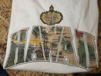 VTG Map of the Hawaiin Islands Boat Palm Trees Single Stitched USA Hanes XL