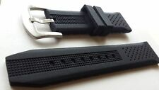 NEW 22mm Black silicone rubber sports watch strap. (UK)