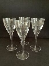 More details for 4 x waterford crystal (?) john rocha style large wine glasses geo design
