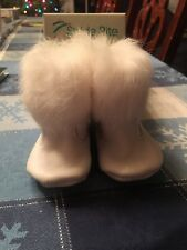 Stride Rite Infant Girl White Leather Boots With Rabbit Fur Trim Size 0