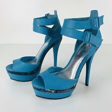 Anne Michelle Blue Snake Print High Heels Size 8 Buckle Strap Platform Sandals
