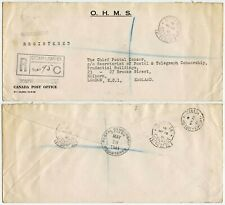 CANADA WW2 CENSORSHIP OFFICIAL OHMS 1941 OTTAWA FREE FRANKS REGISTERED to LONDON
