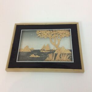 Framed Cork Wood Cut Picture Artwork Sail Boats Water Tree Islands 3-D
