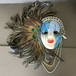 Porcelain Ceramic Blue Gold Beaded Peacock Black Feathers Mask Beaded Strings
