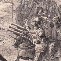 Gravure XVIIIe Bataille de Montlhéry 1465 Louis XI Charles Le Téméraire