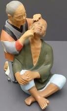 "Vtg Hakata Urasaki Doll 2 Men Shaving 9.5"" Figurine Made in Japan w/ paper label"