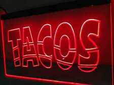 Tacos open Led sign Mexican restaurant lighted entry door display
