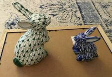 Two Andrea By Sadek Fishnet Bunny Rabbits One Blue One Green