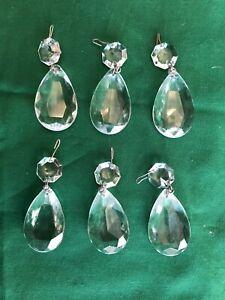Vintage Chandelier crystals 3 12  prism teardrop hexagon