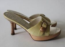 Auth Chanel Yellow Patent Leather CC Logo Wood Slides Mules Sandals Size 37.5