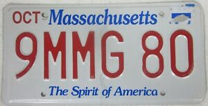 MASSACHUSETTS licence/number plate US/United States/USA/American 9MMG 80