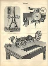 Stampa antica TELEGRAFO macchina e dettagli TELEGRAPH 1890 Old antique print