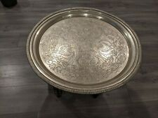 """Handmade Moroccan 25"""" Round Brass Tray Tea Table with folding Wood Stand"""