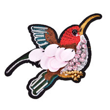 Sequined Bird Patch for Clothes Sewing on Rhinestone Beaded Applique for Jacket&