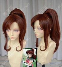 Sailor Moon Jupiter Makoto Kino Brown Cosplay Party Wig w/ Ponytail Gift