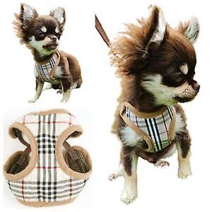 Tartan XXXS XXS XS Small Harness Coat +LEASH Chihuahua Puppy Dog Breeds Designer