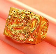 24K Gold Men's Women's Dragon Ring With Crystal Sizes 7 8 9 10 11 12 D557G