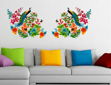 6900040 | Wall Stickers Peacock Birds on Colourful Branch Leaves Wall Design