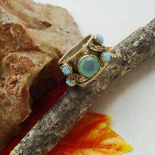 Chalcedon & dichroic vidrio, azul, Aqua, anillo, Ø 19,0 mm, 925 Sterling plata, nuevo