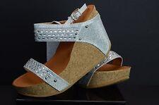FORVER Womens SILVER PLATFORM WEDGE CORK Shoes shoe fashion sexy maya-20