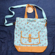 New pottery barn teen girls Heritage aqua ditsy floral canvas leather tote bag