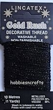 BLACK Lincatex Gold Rush Metallic Decorative Glitter Embroidery Thread 10 Metres