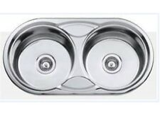 New Omega Stainless Steel Double Round Bowl Sink 17115 DB617CD
