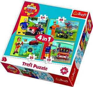 Trefl 4 In 1 35, 48, 54 and 70 Piece Fireman Sam Rescue Floor Jigsaw Puzzle NEW