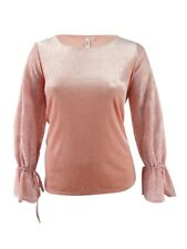 Kensie Women's Lace-Sleeve Velvet Top (XL, Dusty Rose)
