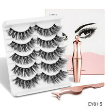 Magnetic liquid Eyeliner with 5Pairs False Eyelashes Easy to Wear Lashes Set US